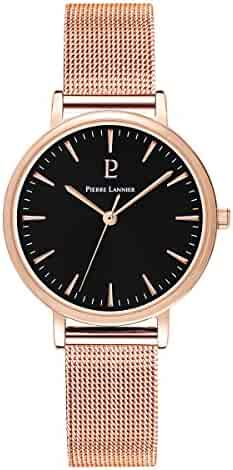 Women's Watch Pierre Lannier - 091L938 - WEEK-END SYMPHONY - Black Dial - Rose Gold Plated - Milanese Strap