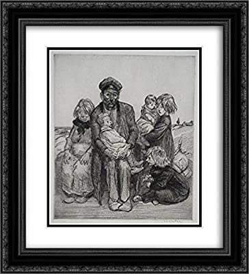 Theophile Steinlen 2X Matted 20x22 Black Ornate Framed Art Print 'Family Etching'