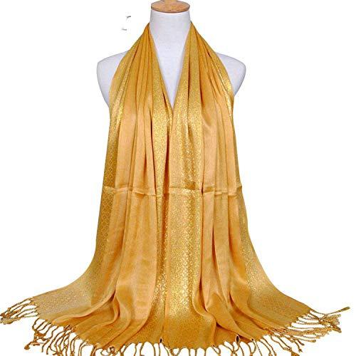 NBOBA Practical Women Scarf Plain Cotton Lurex Plaid Stripe Shawls Scarves Long Muslim Hijab,Onesize,Yellow