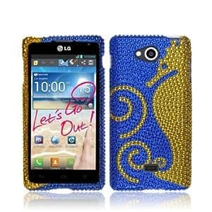 Viesrod NextKin Bling Crystal Full Rhinestones Diamond Case Protector For LG Spirit 4G MS870, Dark Blue Gold Seahorse