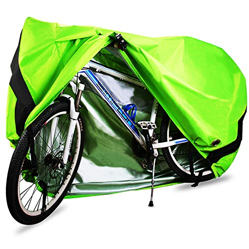Bike Cover, 210D Heavy Duty Outdoor Waterproof Bicycle Covers UV Dust Sun Wind Proof with Lock Hole Protection for Mountain Road Bikes (Green)