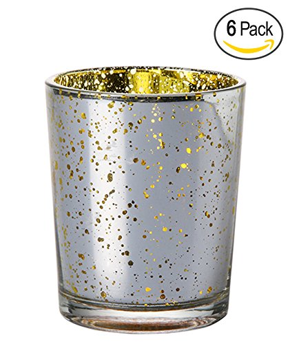 Candle Holder Glass Votive for Wedding, Birthday, Holiday & Home Decoration by Royal Imports, Speckled Mercury Silver/Gold, Set of 6 - unfilled