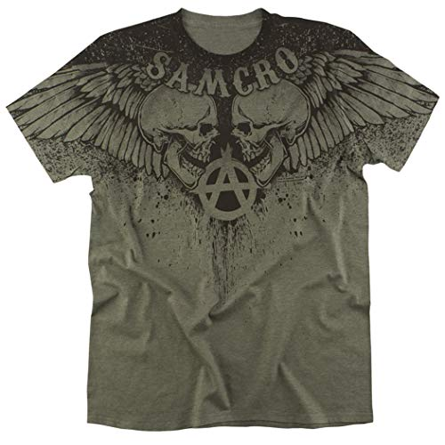 Sons of Anarchy Samcro Winged Skulls All Over Heather T Shirt (XX-Large)