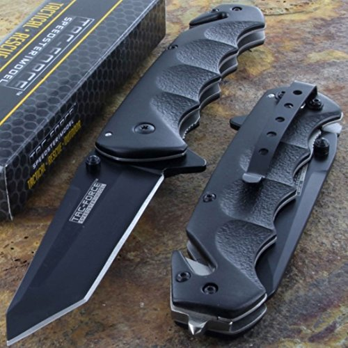 Factory Manufactured Tac-Force Black Tanto Blade Tactical Folding Pocket Knife