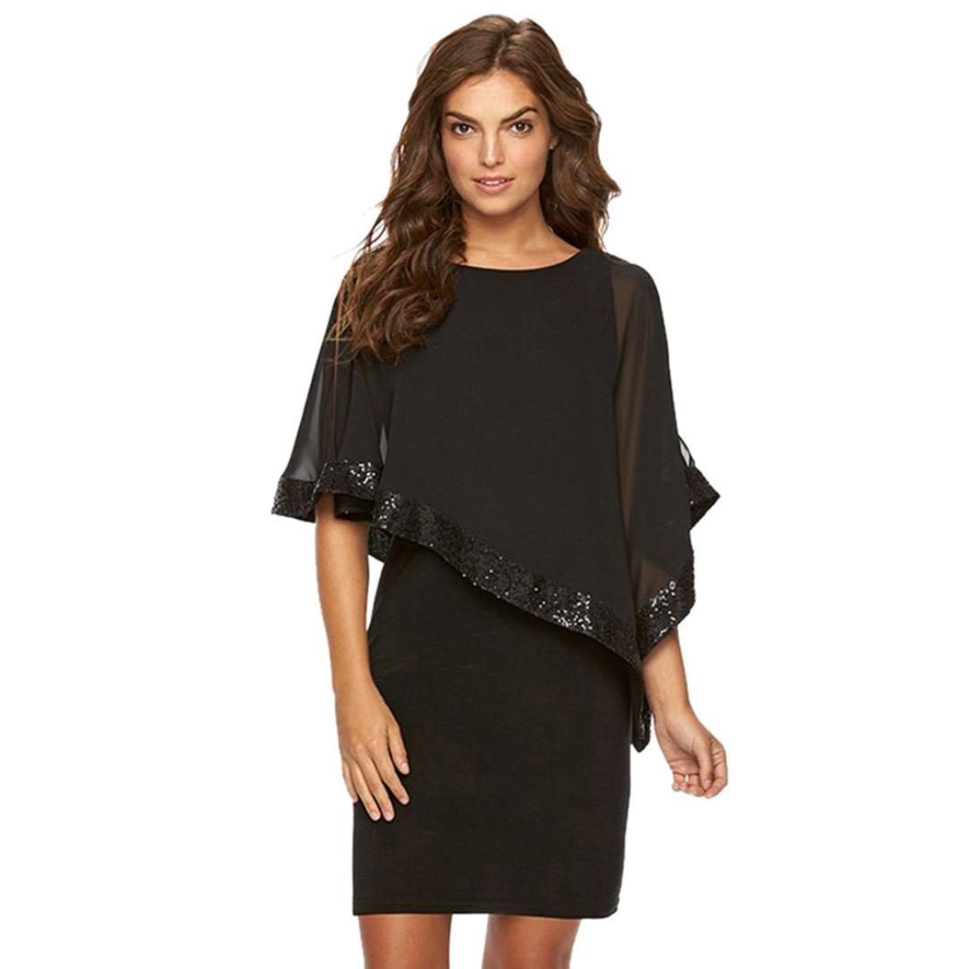 af458d7a Amazon.com: Summer Dresses, Women Off Shoulder Elegant Party Batwing Cape  Mini Bodycon Evening Poncho Dress with Mesh Cape: Clothing