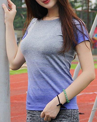 Camiseta Deportiva - Degradado de Color Camiseta de Manga Corta para Mujer Azul