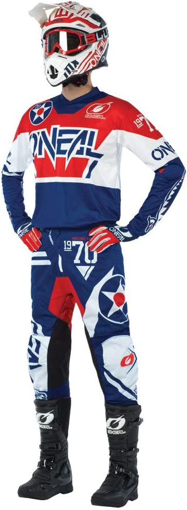 ONeal Element Warhawk Blue//Red Adult motocross MX off-road dirt bike Jersey Pants combo riding gear set Pants W38 // Jersey X-Large