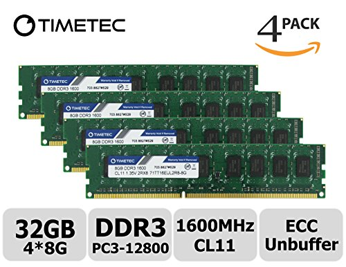 - Timetec Hynix IC 32GB Kit(4x8GB) DDR3L 1600MHz PC3-12800 Unbuffered ECC 1.35V CL11 2Rx8 Dual Rank 240 Pin UDIMM Server Memory Ram Module Upgrade (32GB Kit(4x8GB))