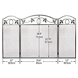 Amagabeli 3 Panel Pewter Wrought Iron Fireplace Screen Outdoor Metal Decorative Mesh Cover Solid Baby Safe Proof Fire Place Fence Leaf Design Steel Spark Guard for Fireplace Panels Accessories by F&T