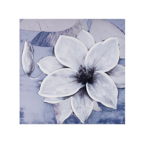 loom Grey Grey Hand Embellished Floral Canvas Wall Art 30X30, Transitional Painted Wall Décor ()