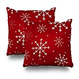Set of 2 LILALO Throw Pillow Covers, Red White Snowflake Double-Sided Pattern for Sofa Cushion Cover Couch Decoration Home Gift Bed Pillowcase 18x18 inch