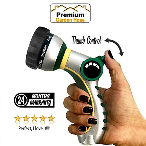 Best Garden Hose Pressure Jet Nozzle, Hose Nozzle Thumb Control, Garden Hose Nozzle 100% Metal in Main Body, Garden Hose Spray Nozzle, Heavy Duty 8 Watering Patterns, Control at Your ()