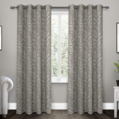 Exclusive Home Kilberry Woven Blackout Grommet Top Curtain Panel Pair, Ash Grey, 52x96, 2 Piece