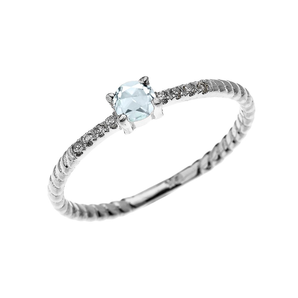 14k White Gold Dainty Diamond and Solitaire Aquamarine Rope Design Stackable/Proposal Ring(Size 10.25)