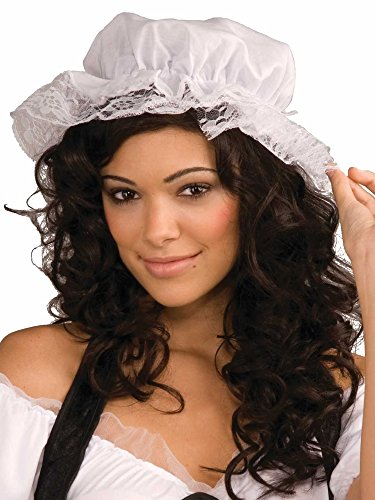 White Mob Cap Hat Mop Colonial Bonnet Pilgrim Adult Costume Accessory