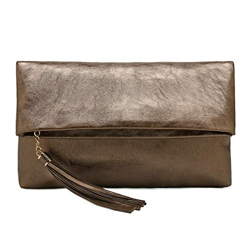 Charming Tailor Foldover Clutch Purse for Women Tassel Bag PU Leather Purse for Party(Metallic Bronze)