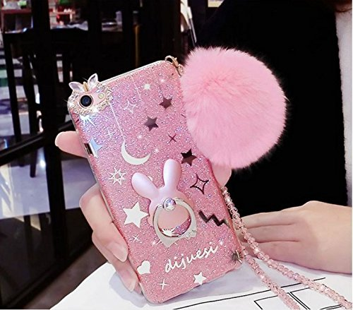 iPhone 6S Plus Case, Fur Plush Ball Bling Glitter Pretty Sparkle Crystal Shiny Star Girl Bumper Hybrid Slim Fit Back Case with Ring Kickstand Cover for Apple iPhone 6S Plus (Ball Apple Iphone)