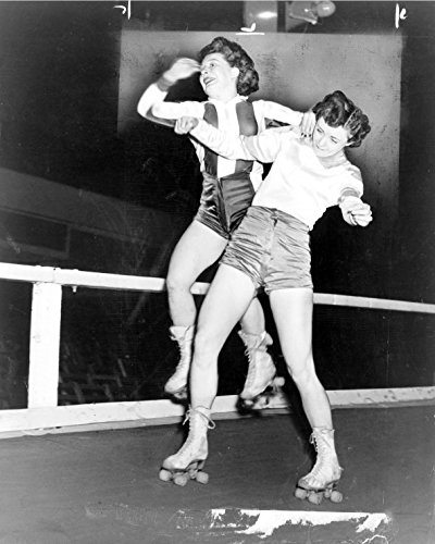 1950 Roller Derby Girls Fighting Old Historical Photograph - Various Sizes Reprint (1950 Hairdos)