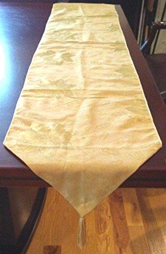 Golden Poinsettia Table Runner With Tassels, Golden Table Runner, Poinsettia Table Runner 5.5 Ft x 14 Inch