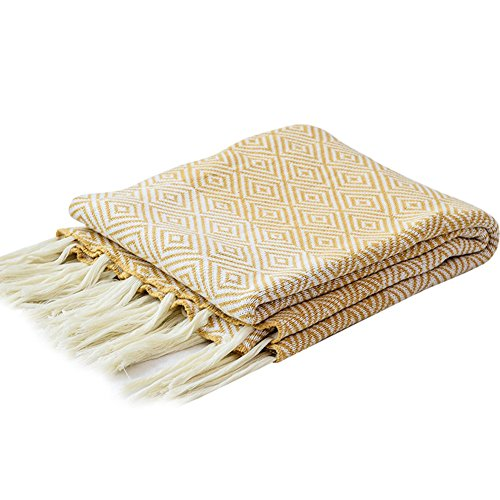 LakeMono 100% Cotton Knitted Throw Blanket, Super Soft Couch/Sofa/Bed Maze Pattern Cover Blanket with Handmade Tassels (Yellow, 59''x 67'')