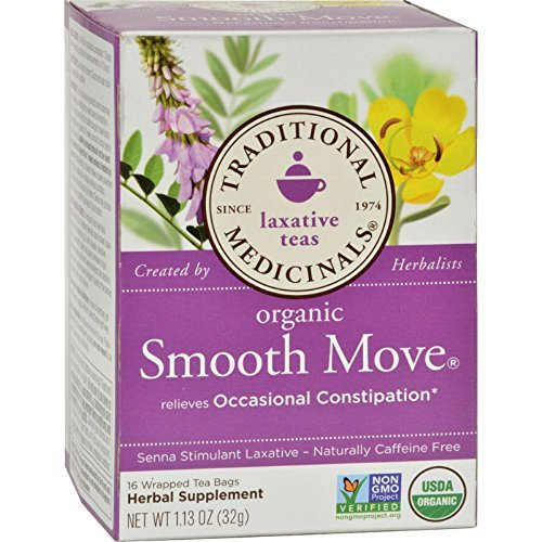 (Traditional Medicinals Organic Smooth Move Herbal Stimulant Laxative Tea, 16-Count Wrapped Tea Bags (Pack of 6) (Value Bulk Multi-Pack))