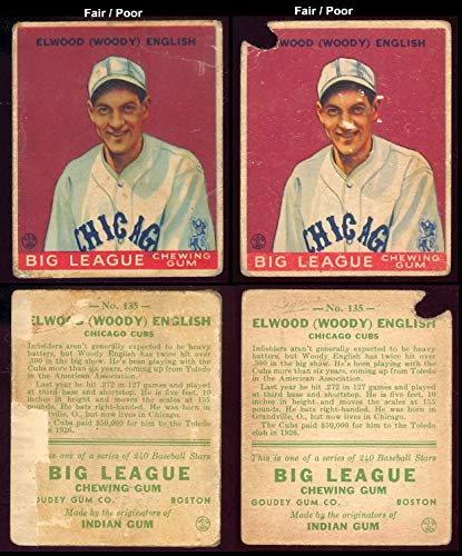 1933 Goudey Regular Baseball Card 135 Elwood Woody English Of The