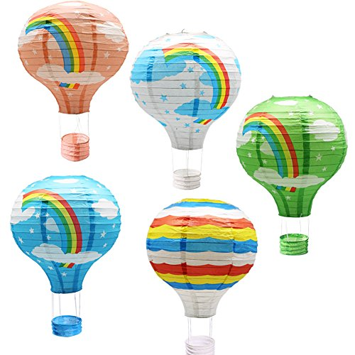 Hanging Rainbow Hot Air Balloon Paper Lanterns Set Party Decoration Birthday Wedding Christmas Party Decor Gift, 12 inch, Pack of 5 Pieces (Decorations Hanging Birthday Party)