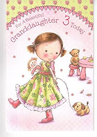 For A Beautiful Granddaughter On Your 3rd Birthday Card Little