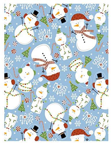 w Blue Snowman Christmas Print Vinyl Flannel Backed Tablecloth, Winter Snowmen Xmas Tablecloth, (70 Inch Round) ()