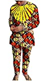 Abetteric Mens African Printed Dashiki Fine Cotton Pants with Tops Sets 9 3XL