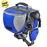 Lifeunion Adjustable Service Dog Supply Backpack Saddle Bag for Camping Hiking Training (Blue, M)