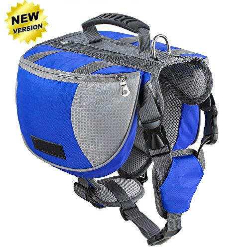 Lifeunion Adjustable Service Dog Supply Backpack Saddle Bag for Camping Hiking Training (Blue, (Saddle Old English Bag)