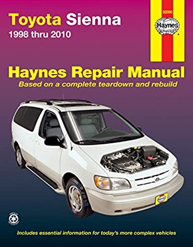 toyota sienna 1998 thru 2010 all models haynes automotive repair rh amazon com toyota sienna 2000 user manual toyota sienna 2000 user manual