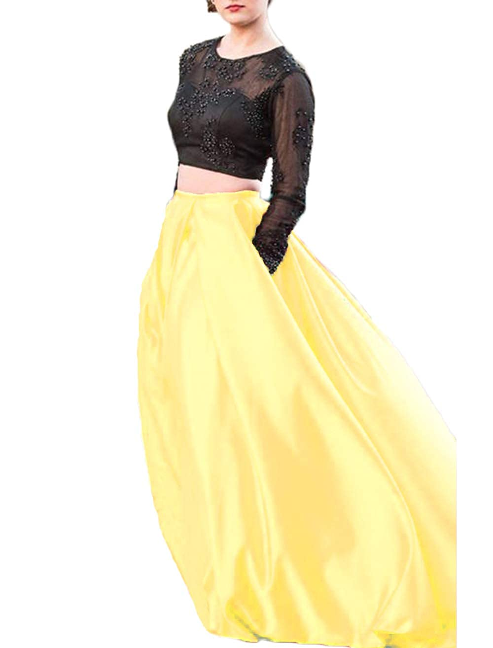 Yellow alilith.Z Sexy 2 Piece Prom Dresses Beaded Appliques Long Sleeves Formal Evening Party Gowns Women Pockets