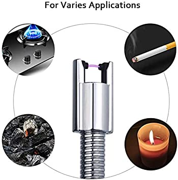 Cooking Upgrade Flameless Windproof Portable Long Lighter for Camping LED Battery Display No Spark Black Fireworks Electric Arc Lighter USB Candle Lighters with Safety Switch BBQs