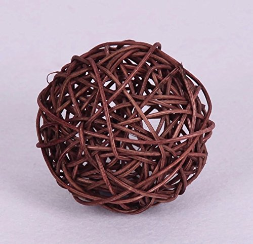 (CheckMineOut 50Pcs Wood Twig Rattan Wicker Ball Wedding Decorations Home Garden Hanging Decor 5cm (Coffee))