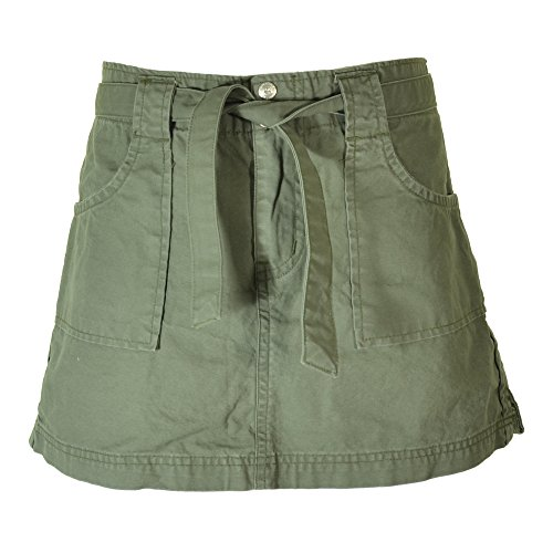 Cargo Pocket Skirt (Womens Belted Adventurer Cargo Skirt 45057 - Cotton, Funky Built-in Belt with Pockets, Medium/14 Field Green)