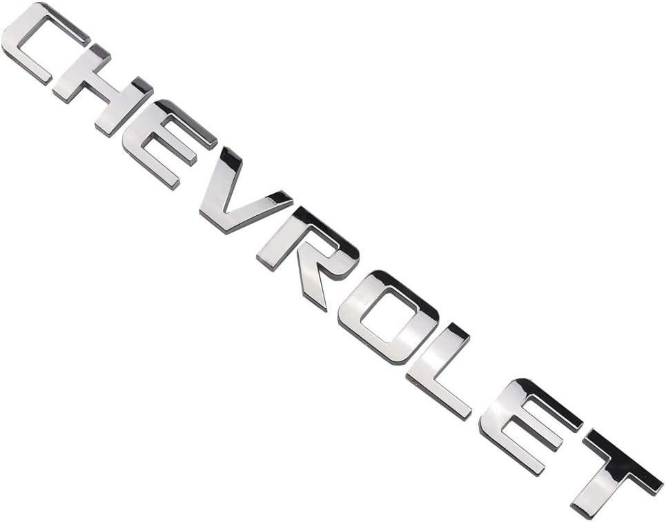 Aimoll 1 PCS Emblem Replacement for Silverado Chrome Silverado Letter Emblem,Badge 3D Emblem 1500 2500HD 2011-2015 Silverado Chevrolet Chrome