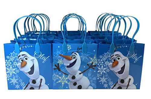 Disney Frozen Olaf Blue Premium Quality Party Favor Reusable Goodie Small Gift Bags 12 (12 Bags) by (Frozen Bag)
