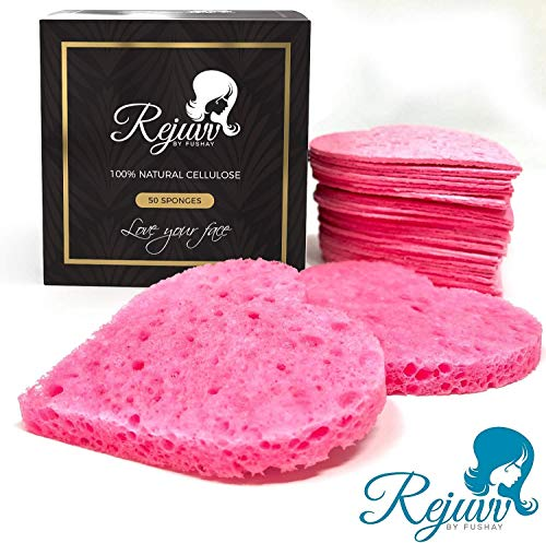 Facial Sponges Compressed Natural Cellulose Sponge for Face Cleansing Exfoliating and makeup removal, Professional use Deep clean (50 count) - Rejuvv by - Hearts Disposable