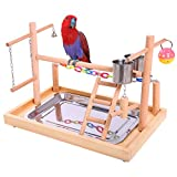 QBLEEV Bird Training Playground Parrot Wooden Perches Play Gym Playpen With Ladders Feeder Cup Chewing Bell Toys(15.3'' L9.6 W10.6 H)