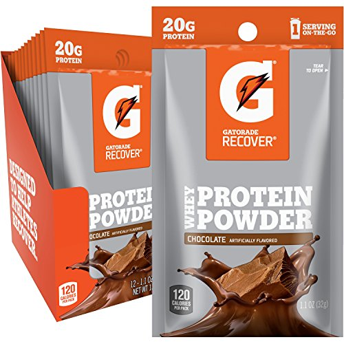 (Gatorade Recover Whey Protein Powder, Chocolate, Single Serve Pouch, 20 grams of protein per serving (Pack of 12))