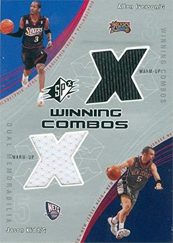 Jason Jersey Kidd Nets - Allen Iverson & Jason Kidd player worn jersey patch basketball card (76ers, Nets) 2002 Upper Deck Winning Combos #AIJK