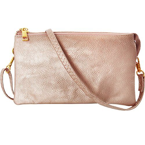 Humble Chic Vegan Leather Small Crossbody Bag or Wristlet Clutch Purse, Includes Adjustable Shoulder and Wrist Straps, Champagne Gold, Metallic