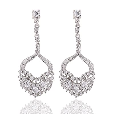 Cheap GULICX Art Deco Classical Gatsby Inspired Prong CZ Crystal Chandelier Bride Drop Earrings for sale