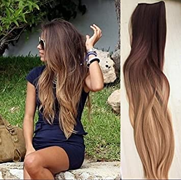 Amazon one piece clip in hair extensions ombre dip dye dark one piece clip in hair extensions ombre dip dye dark brown to sandy blonde straight pmusecretfo Gallery