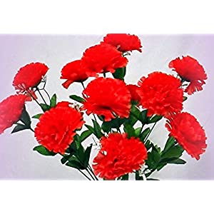 Inna-Wholesale Art Crafts New 12 Carnations RED Long Stems Silk Bouquet Decorating Flowers Centerpieces Decor - Perfect for Any Wedding, Special Occasion or Home Office D?cor 11