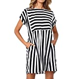 Tantisy ♣↭♣ Women s Striped Short Sleeve Print Pencil Dress Summer Fashion Ladies Casual Dress with Pockets Black