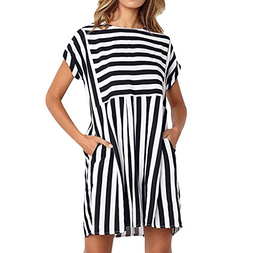 DondPo Dress Casual Summer Beach Women's Casual Sexy Holiday Short Sleeve Striped Ladies Swing Midi Dresses with Pockets Black (Best Holiday Cocktail Dresses)
