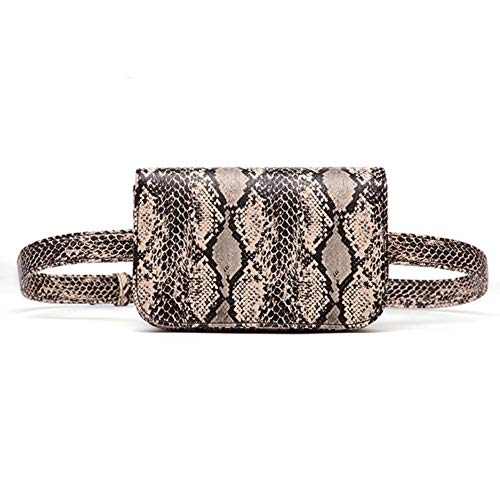 Small PU Leather Elegant Fanny Pack Belt Bag Purse Snakeskin pattern for Women Travel